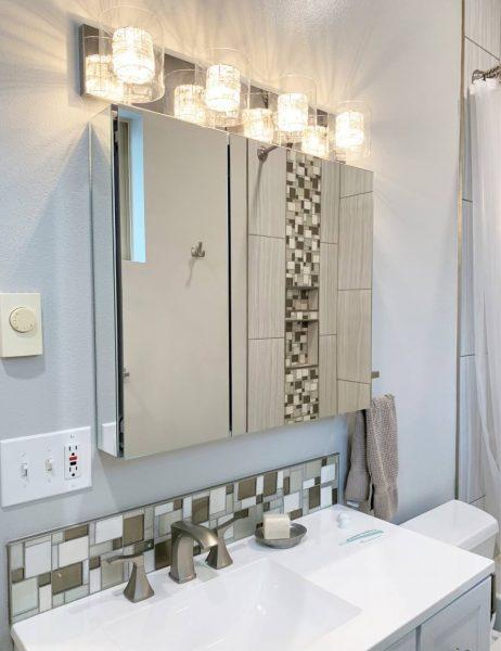 ADU bathroom vanity sink lights tile