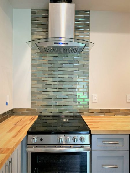 ADU small range stove hood tile